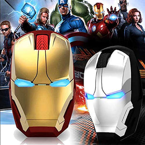 Iron Man Mouse Wireless Mouse with Silent Click and 4 Adjustable DPI 800/1200/1600/2400 for PC (Gold), Gaming Mouse, Gamer Computer Mice