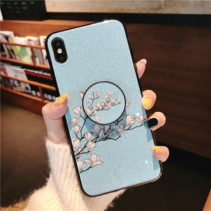 Ring Holder Stand Phone Case For Samsung Galaxy S7 Edge S8 S9 Plus S10 5G S10e Lite Note 8 9 Flower Soft Silicone Cover Coque