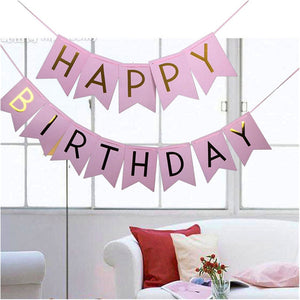 Pink Hat Happy Birthday Banner Hanging For Children Baby Party Toys