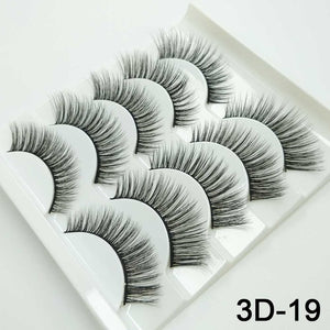 Mink Eyelashes HandMade Makeup 3D Mink Lashes Natural False Eyelashes Long Eyelashes Extension 5 Pairs Faux Fake Lashes