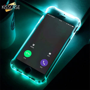 KISSCASE TPU Call Light Case For iPhone XR 8 7 6 Plus XS Phone LED Cases Anti-knock Flash Cover For iPhone XR XS MAX X 10 Shell