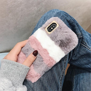 Rabbit Cases For Samsung Galaxy A3 A5 A7  J3 J5 J7 2015 2016 Note 5 4 3 S5 S4 S3 Mini Plush Stripe Covers I9600 J310 J510 J710
