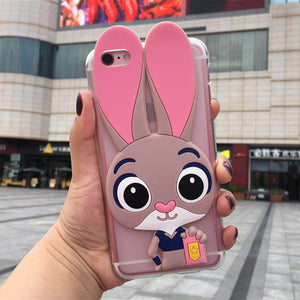 Cute Rabbit Phone Case for Samsung Galaxy S2 S3 S4 S5 Mini S6 S7 Edge S8 S9 S10 Plus 3D