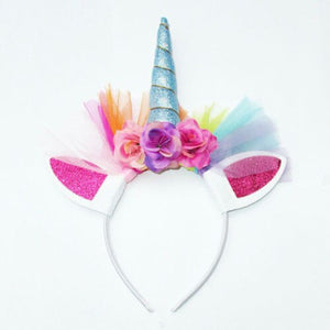 Unicorn Horn Flower Headband Fancy Kids Flower Floral Headwear -Crown Party