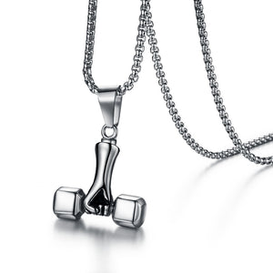 Men and Women Silver Sport Fitness Necklace Stainless Steel Weight Lifting Luck Dumbbell Pendant Necklace