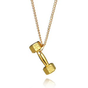 Titanium Steel Neckalce Barbell Dumbbell Pendant for Women and Man