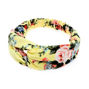 Women Elastic Flower Twisted Knotted Ethnic Headband