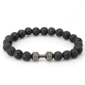 Mens & Womens Natural Stone Beads Bracelet Gold & Silver Plated Dumbbell