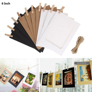 Wall Photo Frame with 10pcs Clips and Rope DIY Hanging Wall Picture Album  10Pcs  3/5/6 inch