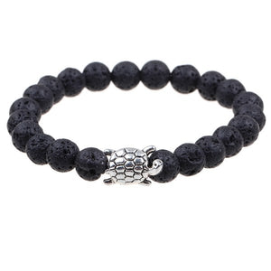 Lava Stone Beads Antique Silver Crown Dragon Anchor Dumbbell Lion Turtle Dog Elastic Men Beaded Bracelet Fashion Jewelry