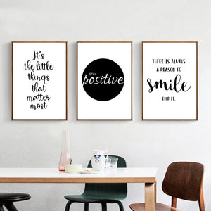 Black White Motivational Canvas Art Life Quote