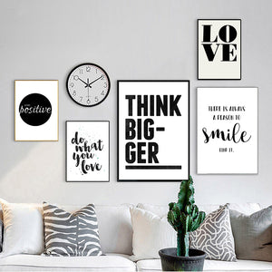 Home Decor Black White Wall Art Canvas Painting Education Picture