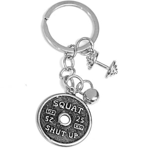 Beautiful Strong Health Charm Dumbbell Keychain