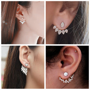 New Imitation Pearl Heart Crystal Flower Leaf Stud Earrings