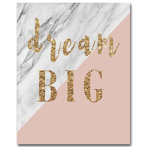 Golden Marble Motivational Canvas Poster Living Room Wall Picture