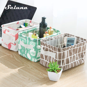 Seluna Desktop Storage Basket Cute Printing Waterproof Organizer Cotton Linen Sundries Storage Box Cabinet Underwear Storage Bag