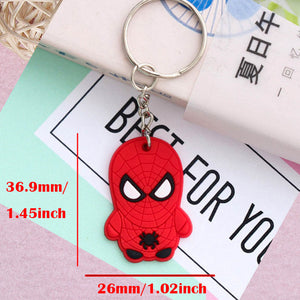 SUTI Avengers Keychain Captain America Spider Man Batman Key Ring Japanese anime Holder Chaveiro Key Chain Bag Pendant Jewelry