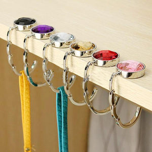 Portable Metal Foldable Bag Purse Hook Handbag Hanger Purse Hook Handbag Holder Shell Bag Folding Table Hook 7 Color
