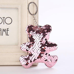 Chaveros Charms Cute Pompom Sequins Key Ring
