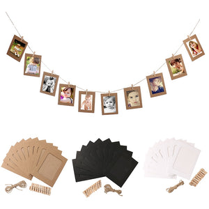 Cadre Photo Frame With Clips And Rope 3/4/5/6/7 Inch Wall Hanging Banner Photo Frame DIY Picture Album Home Wedding Decoration