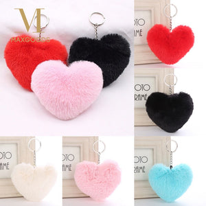 Soft Lovely Heart Shape Fluffy Fur PomPom Keychain