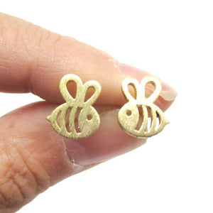 Adorable Bumble Bee Insect Shaped Stud Earrings