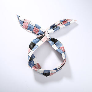 Fashion Plaid Knot Elastic Womens Headband