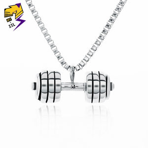 Street Fitness Sporty Dumbbell Pendant Necklaces 316L Stainless Steel Antique Silver Chains Necklaces for Men Gym Hiphop Jewelry