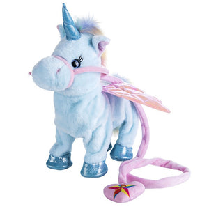 VIP Price Dropshipping 35cm Cute Electric Walking Unicorn Plush Toy Stuffed Animal Electronic Unicorn Doll Sing Song Christmas