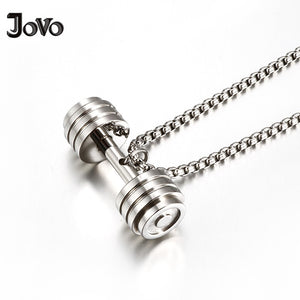 Stainless Steel Silver Dumbbell Pendant Men and Women Necklace with Chain