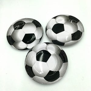 White black football Soccer Theme Cup Plate Tableware Set kids girl boy Favor Happy Birthday Party Supplies Decoration