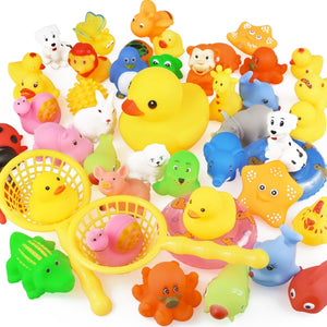Bath Toy Animals Swimming Water Toys Mini Colorful Soft Floating Rubber Duck For Baby Kid-15PCS/Bag
