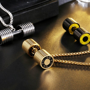 Gold Titanium Stainless Steel Dumbbell Pendant Necklace