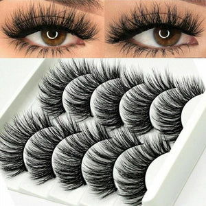 Mink Hair Eyelashes - Natural Cross Eyelashes Eye Lashes Extension 5pcs/set