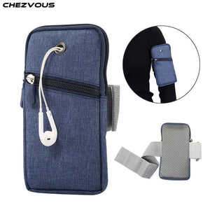 CHEZVOUS Sport Cell Phone Bag Case for iPhone X XS XR XS max Cowboy Cloth Universal Running Phone Pouch for iPhone 7 8 6 plus