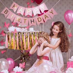 Party Toys Hat Pastel Pink Happy Birthday Banner Hanging Toy Gold Letter Photo Prop Bunting Garland Wedding Toys Party Toys