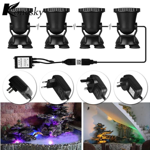 4Pcs Remote Control Rgb 36 Led Underwater Spot Light - Lighting Fixtures & Hoods