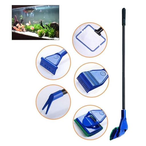 5 In 1 Complete Aquarium Fish Tank Clean Set Fish Net+ Rake+ Scraper+ Fork+ Sponge - Accessories