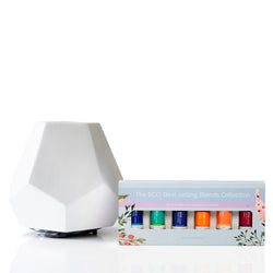 White Ceramic Geo Design Diffuser and Eco Best-selling Blends Collection Starter Kit