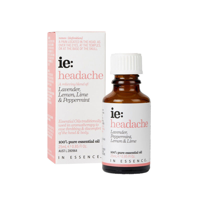 In Essence Headache Pure Essential OIl Blend 25ml with carton