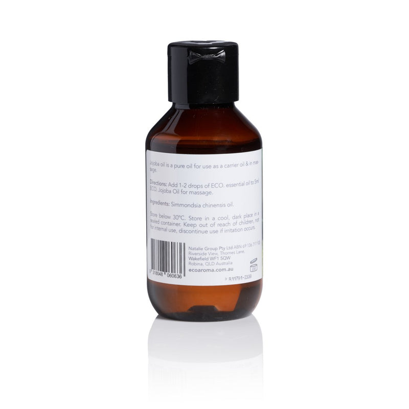 Eco Body Jojoba Oil Carrier and Massage Oil 95ml Back Label Directions and Ingredients