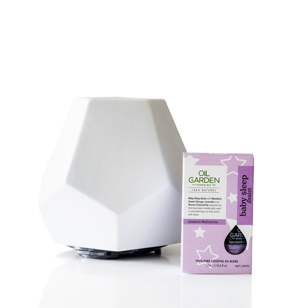 White Ceramic Geo Design Diffuser and Oil Garden Baby Sleep Assist Essential Oil 12ml