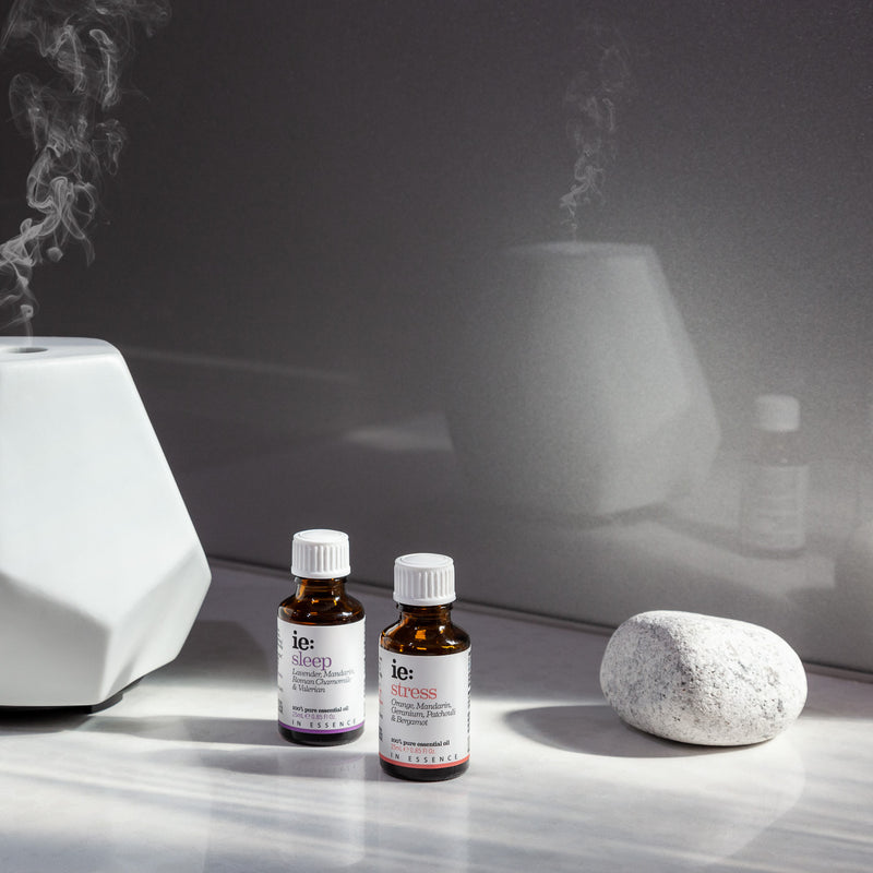 White Ceramic Geo Design Diffuser and In Essence Sleep and Stress Essential Oil Blends 25ml Display