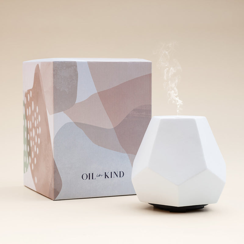 White Ceramic Geo Design Diffuser and Carton