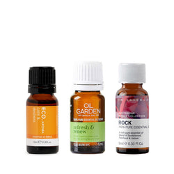 Best Essential Oil Blends Trio ECO Aroma Calm and Destress, Oil Garden Refresh and Renew and In Essence Rock