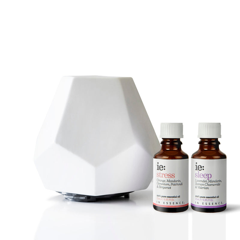White Ceramic Geo Design Diffuser and In Essence Sleep and Stress Essential Oil Blends 25ml