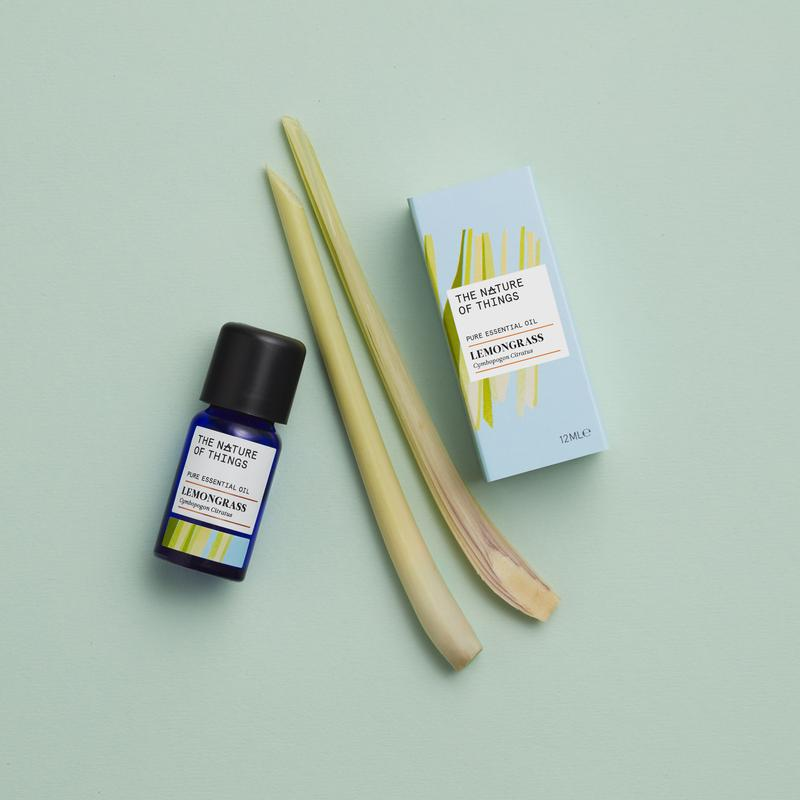 The Nature of Things Lemongrass Pure Essential Oil 12ml with carton and ingredients
