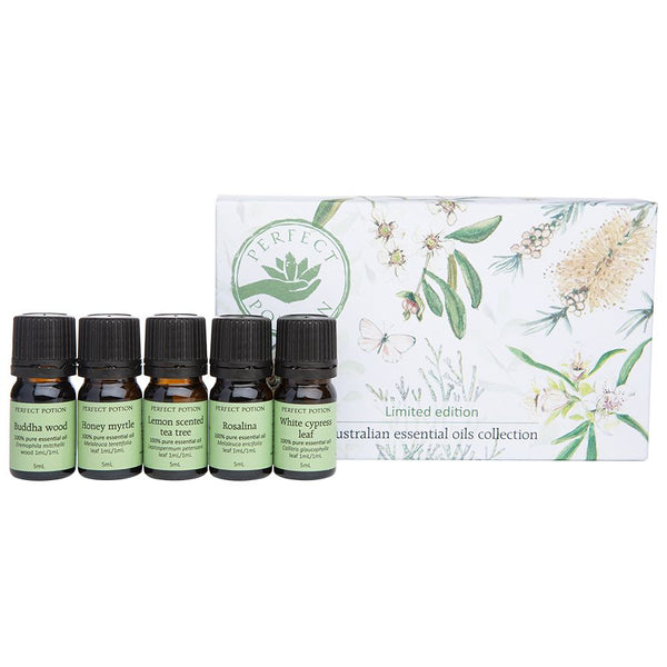 Perfect Potion Australian Essential Oils Collection Buddha Wood, Honey Myrtle, Lemon Scented Tea Tree, Rosalina and White Cypress Leaf