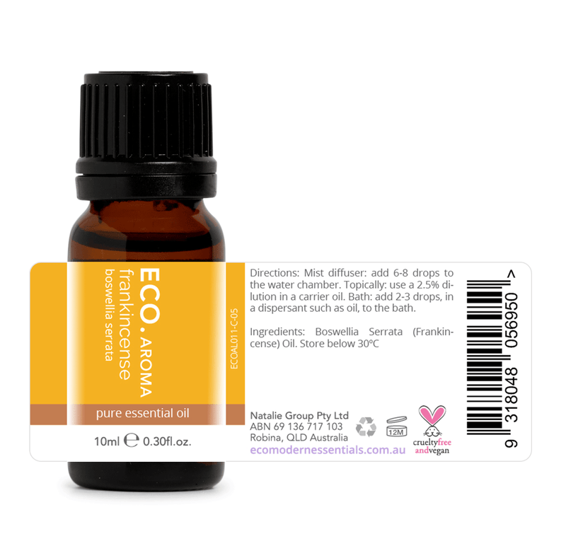 ECO Aroma Frankincense Pure Essential Oil 10ml Directions and Ingredients Label