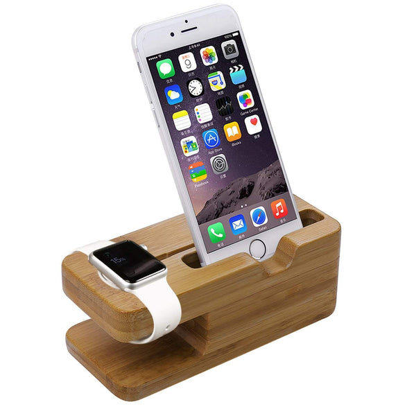 Bamboo Stand Charging Dock Station;  Stand Holder for Apple Watch & iPhone. [FREE DELIVERY AUSTRALIA-WIDE; 7-11 DAYS]